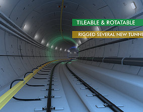 3D model animated Railway and Subway Tunnel Rigged