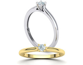 Solitaire ring 3mm round stone 4prong 3D printable model