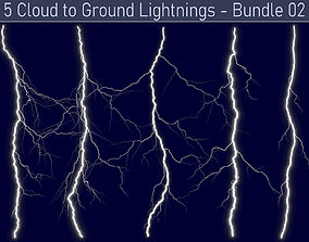 3D model Realistic Lightnings Bundle 02 - 5 pack CG