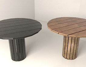Wooden table 3D model saloon