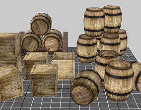 Wood Barrel Pack 3D model low-poly