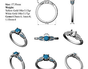 3D printable model Cathedral Engagement Ring all sizes
