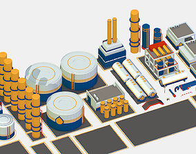 Isometric Oil Pipe Barrel Idustry Build game-ready 2
