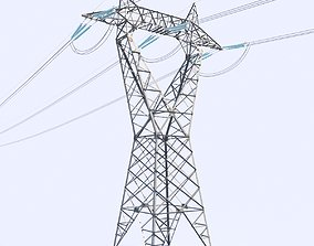 3D High voltage power line - reverse delta tower