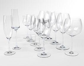 Wine Glass set Blender Cycles 3D model