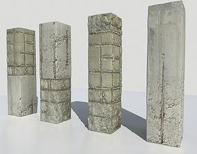 3D asset Damaged Columns 2