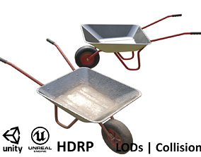 Game-ready Wheelbarrow - Unity - HDRP - UE4 3D