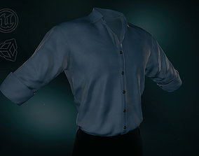 Blue Suit Shirt Rolled Sleeve 3D asset