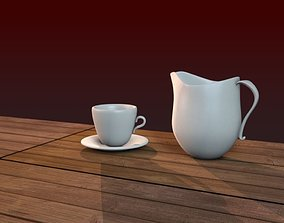 Coffee Pot Cup and Wood Table 3D model