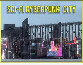 3D Sci Fi Cyberpunk City Buildings Futuristic