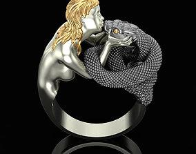 3D print model Ring Snake Kiss