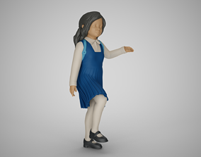 3D print model Little School Girl Climbing Steps