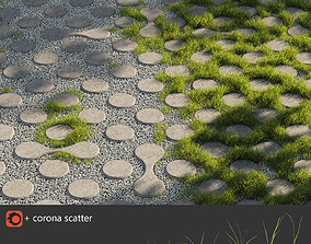 3D model Grass Eco parking Paving tile gravel with grass