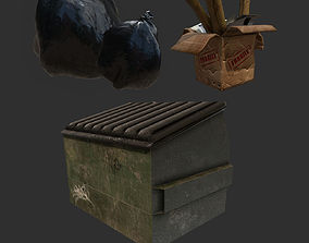 Trash Bag Dumpster Cardboard Box 3D asset