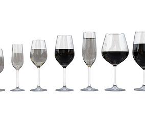 Wine set 3D asset