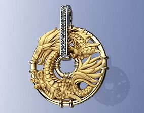 Gold Dragon Pendant 3D print model