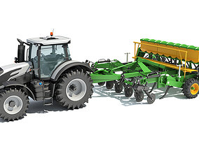 plant 3D Tractor with Trailed Disc Harrow