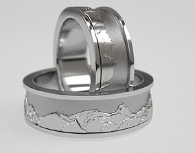Mountains wedding bands 3D printable model
