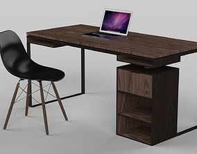 Modern Desk made of wood and metal 3D model