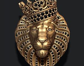3D print model Lion pendant with diamonds and crown