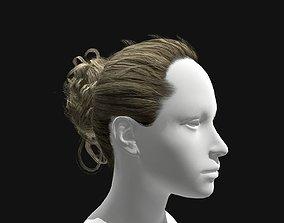 VR / AR ready 3D Hair Female Curly Bun Hairstyles
