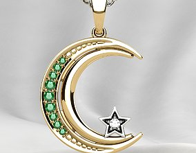 3D print model Islamic Moon Gold Pendant
