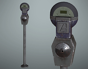 3D model game-ready Lowpoly PBR Old Parking Meter