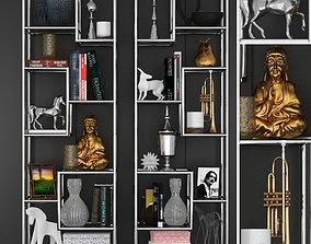 3D Chromed Shelves with decor