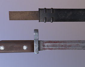 Combat Knife and Sheath SVT40 Game-Ready Model low-poly 2