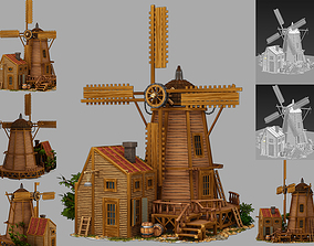 animated mill 3d