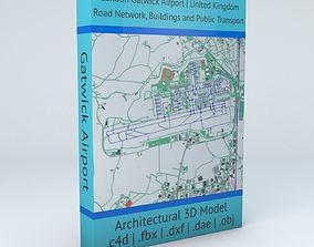 3D London Gatwick LGW Airport Roads Buildings and Public