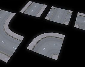 3D model Low Poly Modular Road Network