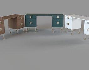3D Lacquered Regency Desk Set Of 3