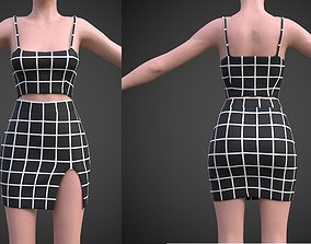 3D asset checkered two piece outfit- Plaid Cami Top And 1