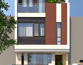 animated exterior house House design 3d model