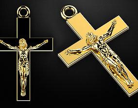 crucifix 3D print model cross straight with jesus