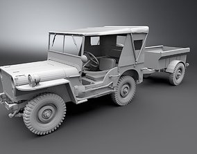 3D printable model Jeep Willys With Cart