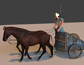 3D model animated ancient chariot