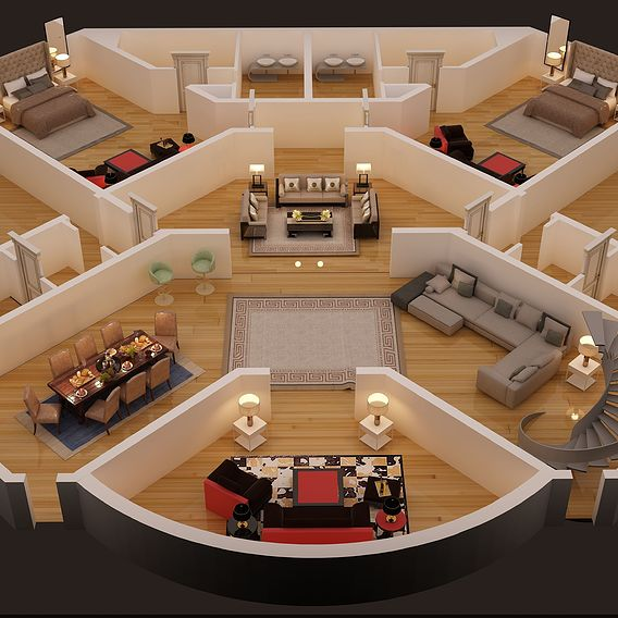 3D FLOOR PLAN OF LUXURY HOUSE RESIDENCE RENDER IN 3D MAX 2017 WITH VRAY 3.4