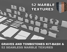 Grave tombstone kitbash collection - 52 tileable 3D asset