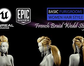 3D asset French Braid Ponytail Wedd Style V2 Groom For UE4