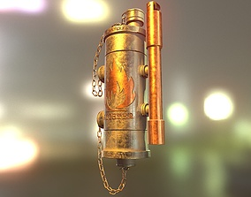 PBR Steampunk and Vintage Style Old 3D Lighter Model