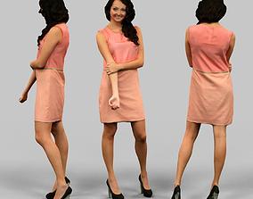 Salmon Dress Girl 3D asset