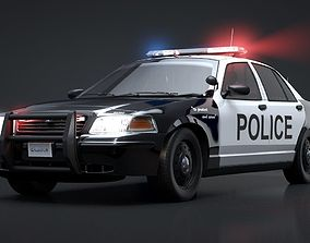 City Police Car Rigged for C4D 3D
