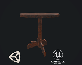3D model VR / AR ready Antique Table