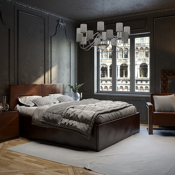 Bed in a classic interior, Venetian style.
