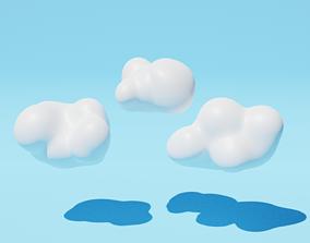 Cartoon clouds low poly 3D asset