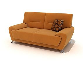 Tan Couch With A Pillow 3D