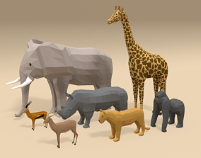 Low Poly Cartoon African Animals Collection 3D model