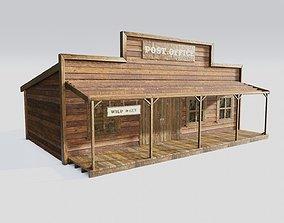 3D model american wildwest cowboy saloon town building